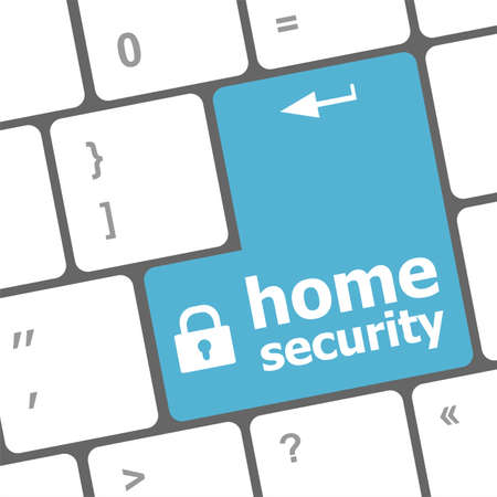 Safety concept: computer keyboard with Home security icon on enter button background photo