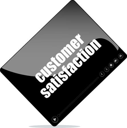 Video player for web with customer satisfaction word photo