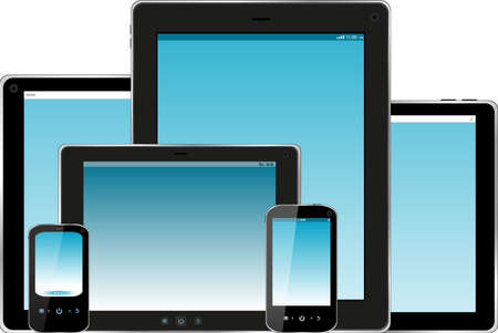 technics: Set of mobile electronic technics. smart phone and tablet pc with blue screen Stock Photo