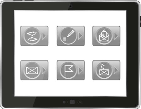 Tablet PC with application icons isolated on white background photo