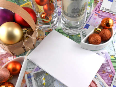 new year celebration event, money wallpaper, christmas balls and blank paper photo
