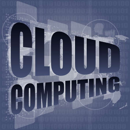 cloud computing word on touch screen, modern virtual technology background photo