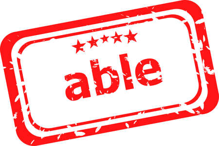 able: able word on red rubber old business stamp