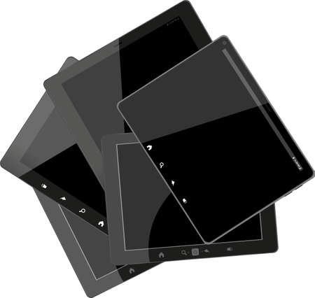 Set of tablet computers with black screen photo