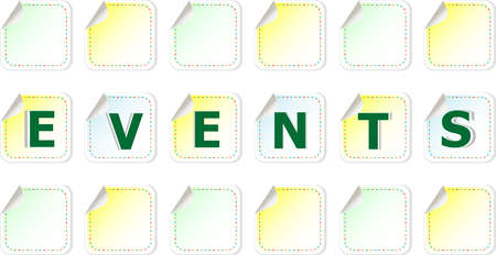 events word cloud written on a stickers photo