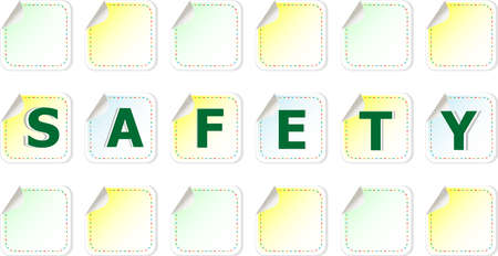 The word Safety on a stickers label tag set photo