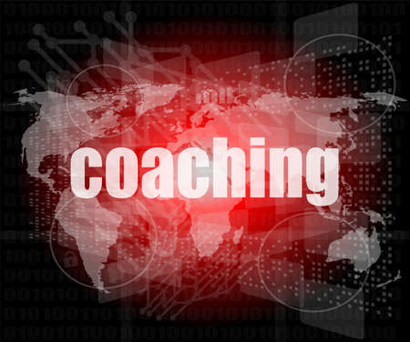 coaching word on touch screen, modern virtual technology background photo