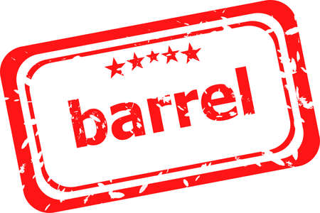 barrel on red rubber stamp over a white background photo
