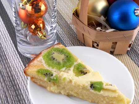 kiwi tasty cake with christmas balls set photo
