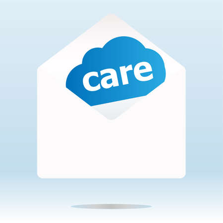care word blue cloud on white mail envelope photo