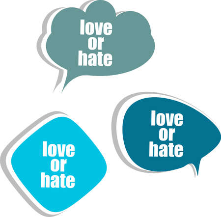 love or hate word on modern banner design template. set of stickers, labels, tags, clouds photo
