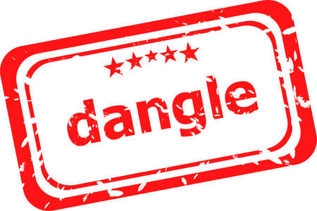 dangle: dangle word on red rubber old business stamp