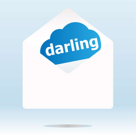 the darling: mail envelope with darling word on blue cloud