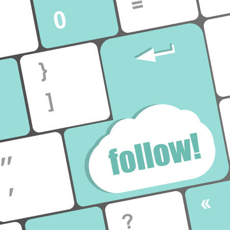 Social media or social network concept: Keyboard with follow button photo