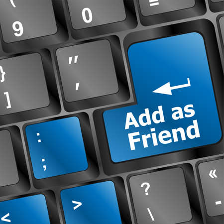 Social media or social network concept: Keyboard with Add As Friend button photo