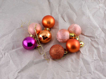 Christmas balls on vintage paper, new year decoration photo