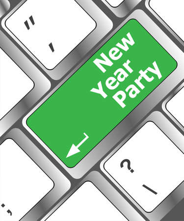 Computer keyboard key with new year party words photo