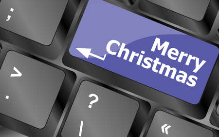 merry christmas message, keyboard enter key button photo