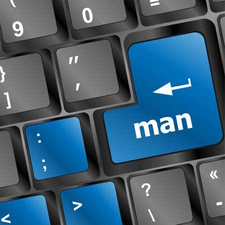 man word on computer keyboard key photo