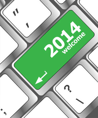 New year concept: welcome 2014 key on the computer keyboard Stock Photo - 23952826