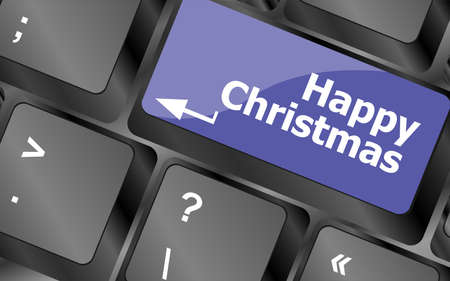 happy christmas message, keyboard enter key button Stock Photo - 23931740