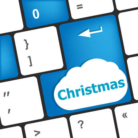 christmas button on the keyboard key - holiday concept Stock Photo - 23953865