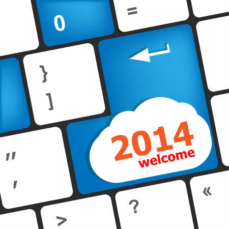 New year concept  welcome 2014 key on the computer keyboard Stock Photo - 23954055