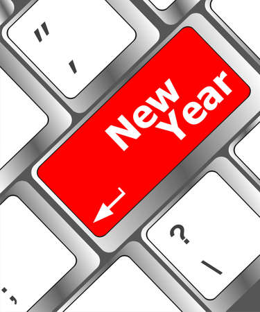 happy new year message, keyboard enter key photo