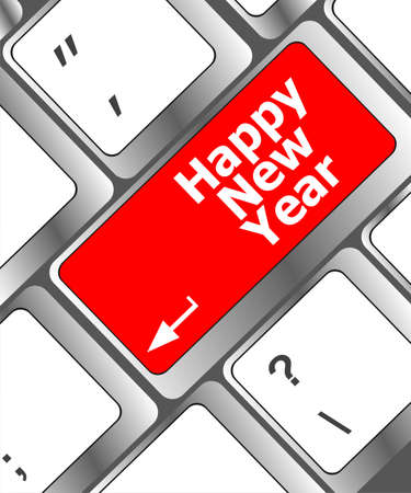 happy christmas message, keyboard enter key button Stock Photo - 24121109