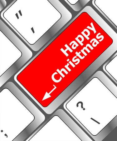 merry christmas message, keyboard enter key button Stock Photo - 24121110