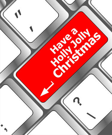 Computer keyboard key with have a holly jolly christmas words Stock Photo - 24121117