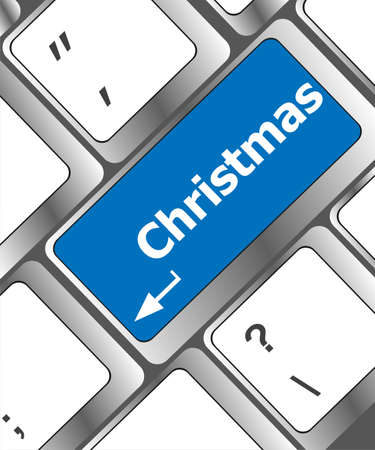 christmas button on the keyboard key - holiday concept Stock Photo - 24121225