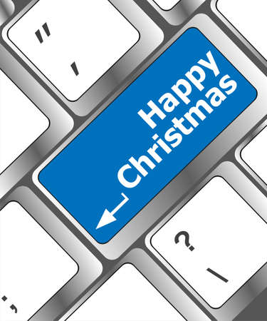happy christmas message, keyboard enter key button photo