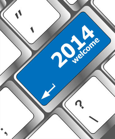 New year concept: welcome 2014 key on the computer keyboard Stock Photo - 24121228
