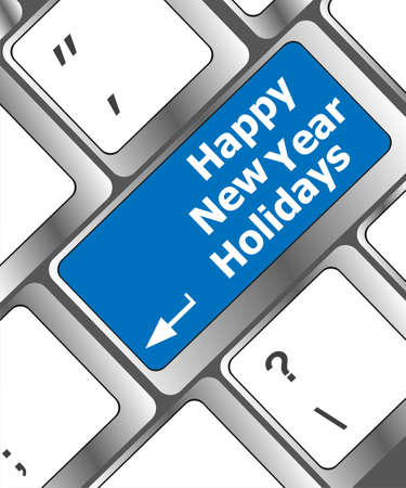 happy new year holidays button on computer keyboard key photo