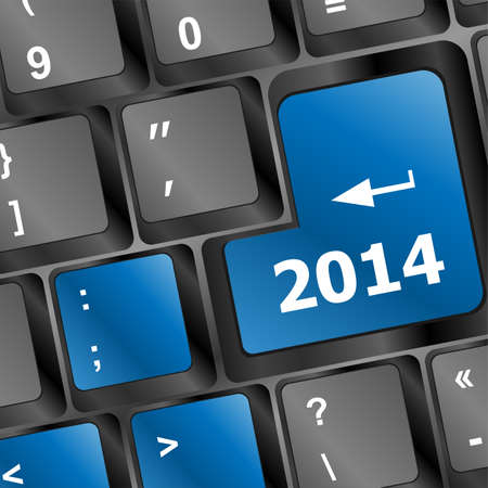New year concept: 2014 key on the computer keyboard Stock Photo - 24121292