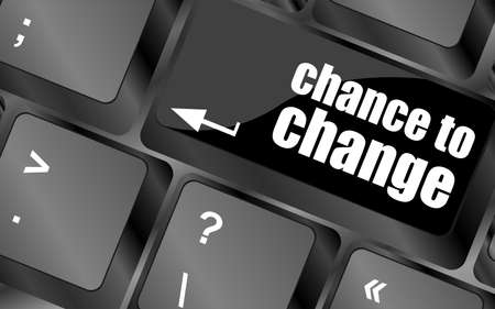 better chances: chance to change key on keyboard showing business success Stock Photo