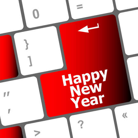 happy christmas message, keyboard enter key button Stock Photo - 24121856