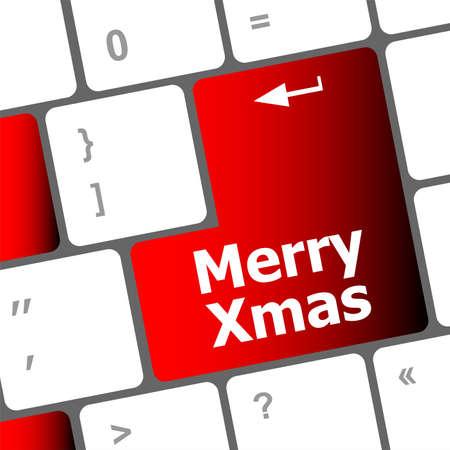 merry christmas message, keyboard enter key button xmas Stock Photo - 24121871