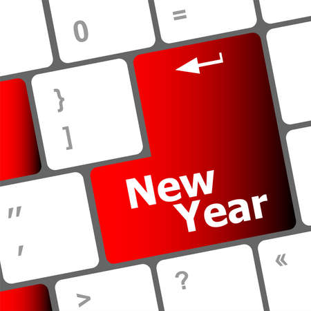 happy new year message, keyboard enter key Stock Photo - 24121994