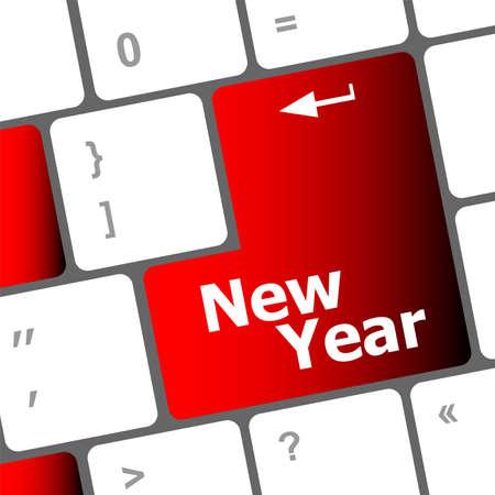 happy new year message, keyboard enter key Stock Photo - 24121994