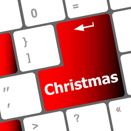 christmas button on the keyboard key - holiday concept Stock Photo - 24121995
