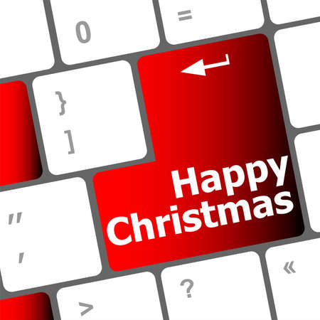 happy christmas message, keyboard enter key button Stock Photo - 24121996