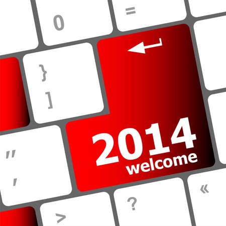 New year concept: welcome 2014 key on the computer keyboard photo