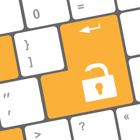 open lock button on the keyboard key photo