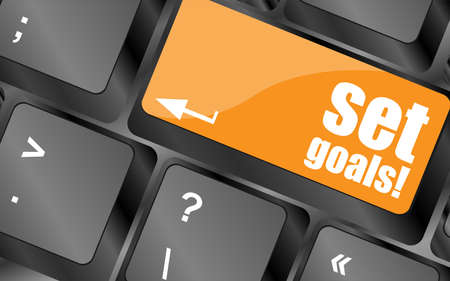 timezone: set goals button on keyboard - business concept Stock Photo