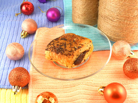 traditon: Christmas cake with vintage bottle and christmas balls