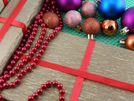 Christmas and new year decoration, balls and gifts photo