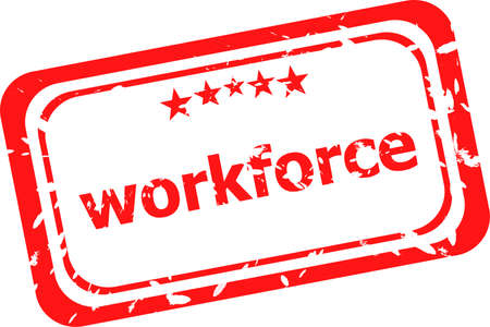 workforce on red rubber stamp over a white background photo