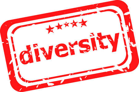 diversity on red rubber stamp over a white background photo